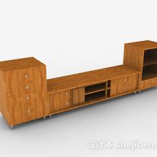 浅木色长款木质电视柜3d模型下载