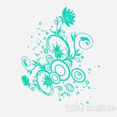 蓝色花卉壁纸3d模型下载