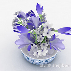 紫色花卉家具摆设品3d模型下载