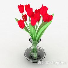 红色郁金香玻璃瓶家居摆设3d模型下载