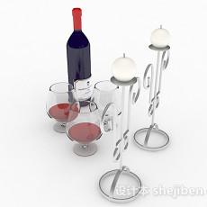 蓝色瓶包装红酒3d模型下载