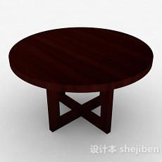 木质圆形茶几3d模型下载