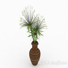 绿色花卉植物室内插花摆设3d模型下载