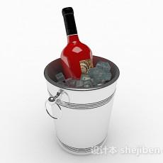 银色金属冰镇桶3d模型下载