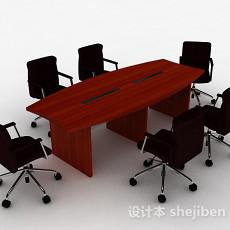 棕色办公桌椅组合3d模型下载