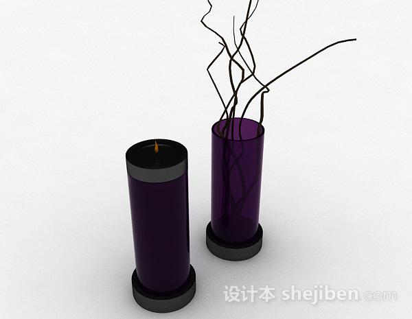 紫色玻璃家居摆件