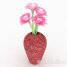 粉色花卉室内插花摆设3d模型下载