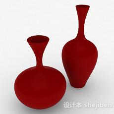 红色陶瓷广口大肚瓶3d模型下载