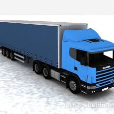 蓝色大货车3d模型下载