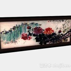 中式水墨牡丹花挂画3d模型下载