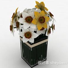 白色花朵室内家居摆设品3d模型下载