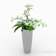现代风格白色条纹花盆3d模型下载