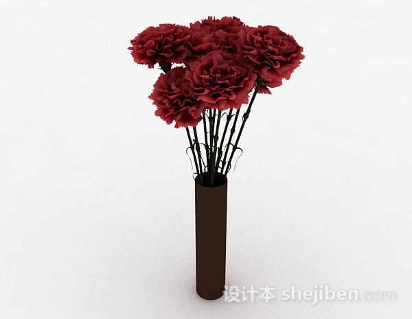 深红色花朵室内插花摆设