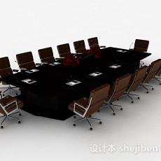 现代风格长方形大型会议桌椅组合3d模型下载