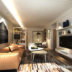 家装现代客厅3d模型下载