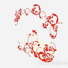红色花卉壁纸3d模型下载