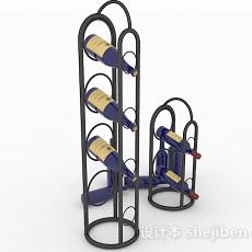 黑色金属红酒架3d模型下载