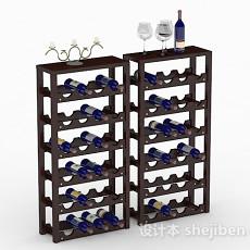 黑色木质红酒架3d模型下载