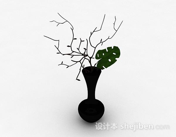 黑色喇叭状陶瓷花瓶