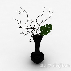 黑色喇叭状陶瓷花瓶3d模型下载