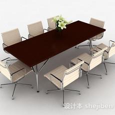 现代风格长方形会议桌椅组合3d模型下载