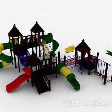 棕色木质滑滑梯3d模型下载