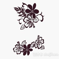 棕色花卉图案壁纸3d模型下载