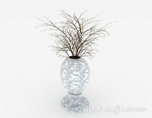 白色花纹陶瓷花瓶