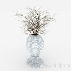 白色花纹陶瓷花瓶3d模型下载
