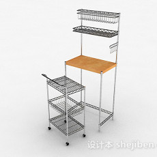 多层不锈钢组合置物架3d模型下载
