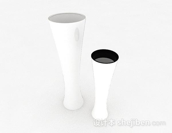 白色广口状陶瓷花瓶