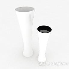 白色广口状陶瓷花瓶3d模型下载