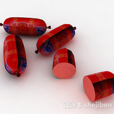 红色包装火腿肠3d模型下载