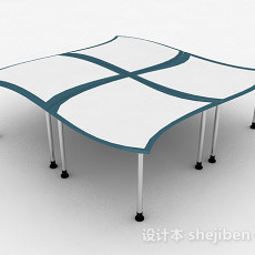 简约多人办公桌3d模型下载