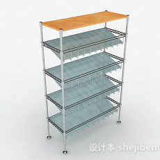 不锈钢厨房置物架3d模型下载