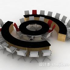 灰色会议桌椅3d模型下载