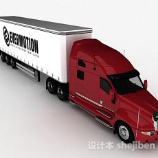 红色货车3d模型下载