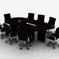 现代风格长方形多人会议桌椅组合3d模型下载