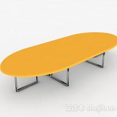 黄色简约会议桌3d模型下载