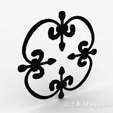 黑色装饰铁艺铁花3d模型下载