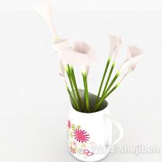 摆设花卉图案花纹花瓶3d模型下载