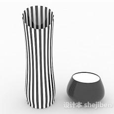 黑白条纹陶瓷摆件3d模型下载