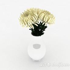 白色菊花室内家居摆设品3d模型下载
