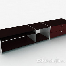 棕色单层电视柜3d模型下载