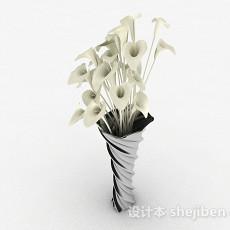 黑色螺旋状广口花瓶3d模型下载