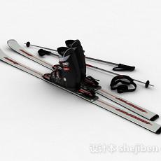 银色双板雪橇3d模型下载