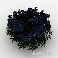 蓝色花朵观赏花丛3d模型下载