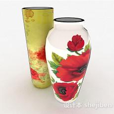 中式风格牡丹花卉图案瓷器瓶3d模型下载