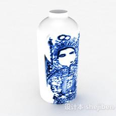 中式风格白色陶瓷摆件3d模型下载
