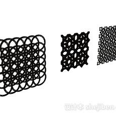 黑色方形金属质地铁艺铁花3d模型下载